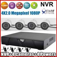 Top Quality ! ONVIF 2.0 Video surveillance Security CCTV Camera System 1080P Outdoor Water-proof IP Camera and 4ch H.264 NVR KIT