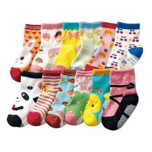 12 pairs/lot  Rubber Slip-Resistant Floor Socks Cartoon Small Baby Kids Toddler Anti Slip  Cotton Socks  Sole Trumpette  12-15cm(China (Mainland))
