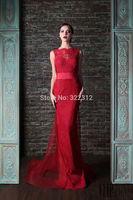 Rami Kadi 2015 Hot Sale Fashion Red Lace Tulle Mermaid Evening Dresses