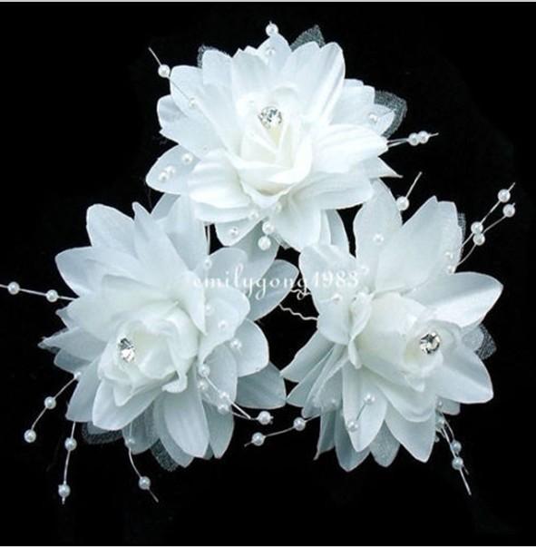 New Handmade Romantic Elegant Wedding Bridal White Flower Hair Pin Hair Accessory(China (Mainland))