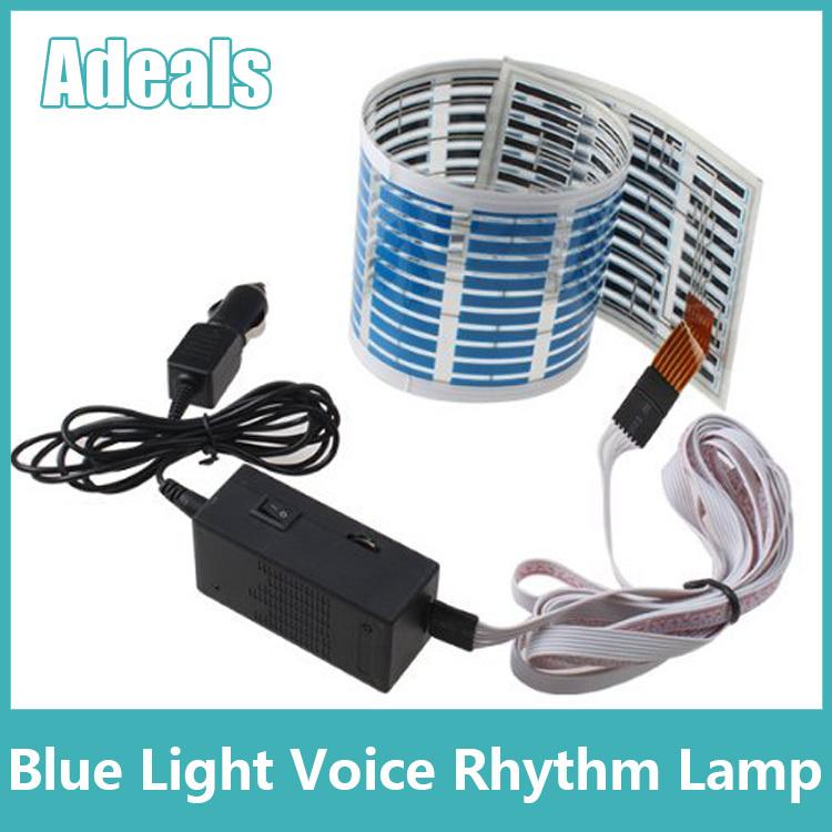45cmx11cm Sound Music Beat Activated Car Stickers Equalizer Glow Blue LED Light Audio Voice Rhythm Lamp(China (Mainland))