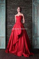 Rami Kadi 2015 Hot Sale Fashion Red Satin Draped A-line Floor Length Evening Dresses