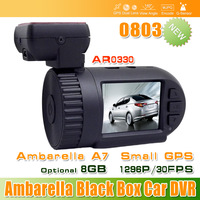 Super quality Original 0803 Ambarella A7 Car DVR Black Box A7LA50D AR0330 1296P GPS 8GB Backup #2212-A7