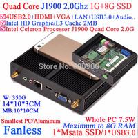 Intel Celeron Processor J1900 quad core fanless mini pcs with HDMI VGA dual display smallest size 1G RAM 8G SSD windows or linux