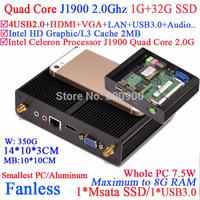 Fanless computer with Intel Celeron Quad Core J1900 HDMI VGA dual display smallest size aluminum 1G RAM 32G SSD windows or linux