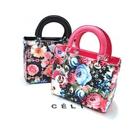 2014 famous brand fashion color floral elegant pu leather shoulder bag lady handbag totes 4 colors free shipping