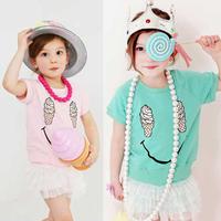 Toddler Girls Short Sleeve T-shirts Ice Cream Smile Print Tops Cotton Costume