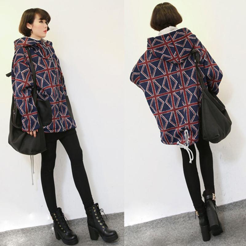 2014 Fashion Winter Autumn Trench Coat Women Fleece Hoodie Check Long Pattern Slouchy Oversized Cloak Jacket Warm Outwear