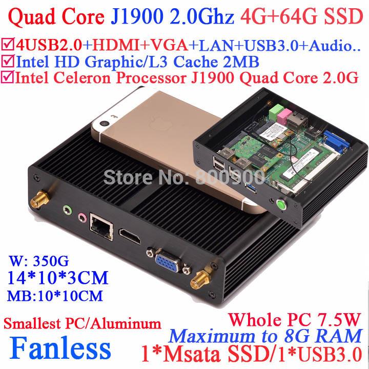 New arrival celeron quad core J1900 mini pc fanless with 7.5W Power HDMI VGA smallest pc aluminum 4G RAM 64G SSD windows linux(China (Mainland))