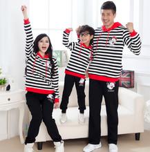 Family Stripe Sweatshirts Set for Mother & Daughter Father & Son Boys/Girls/Women/Men's Sweatshirt Hoodies Clothing Sets BER62(China (Mainland))