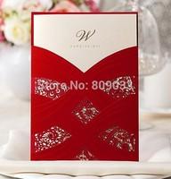 Red Embossed Pocket Wedding cards