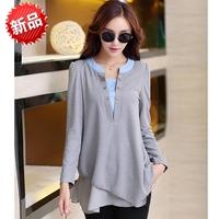 High quality Fashion Autumn V-neck long-sleeve pleated slim solid color loose chiffon shirt plus size XXXL 3XL women top blouse
