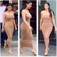 sexy strapless Women Long Maxi Bodycon Bandage Dresses kim kardashian celebrity dresses 2014 Summer Autumn Vestidos Casual