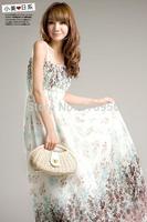 Bohemia dress Floral Chiffon one-piece dress Beach gallus dress sexy ladies sleeveless Free shipping