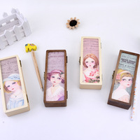 Blue Princess Alicia fruit storage box wooden pen box wooden gift custom stationery factory direct wholesale pencil case