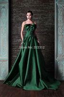 Rami Kadi 2015 Hot Sale Fashion Green Satin Draped  Evening Dresses