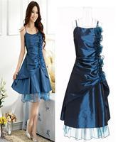 Free shipping 2014 summer women's fashion princess dress chiffon one-piece dress spaghetti strap the wedding evening dress