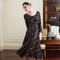 Autumn print chiffon elegant mermaid elegant vintage gentlewomen slim expansion bottom ultra long one-piece dress