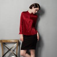 Autumn claretred quality white mulberry silk shirt female stand collar long-sleeve gentlewomen all-match silk shirt