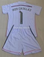14-15 IKER CASILLAS RONALDO JAMES BALE ALONSO ISCO Real madrid home white kids boy youth white soccer jerseys+ customs names