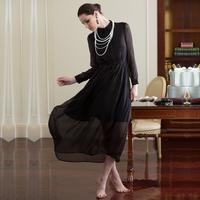 Autumn elegant gentlewomen mid waist elegant long-sleeve expansion bottom chiffon one-piece dress