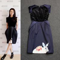 Free shipping 2014 fashion hand rabbit print women's O neck high qulaity brand design stitching velvet dress