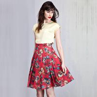 Summer cotton print 100% vintage romantic high waist slim expansion skirt sheds skirt