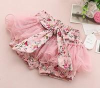 5pieces/lot, Summer Baby Girls flower Shorts, Children Bow Gauze Shorts, A-bg242