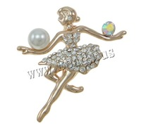 Free shipping!!!Zinc Alloy Brooches,Supplies For Jewelry, with Glass Pearl, Girl, rose gold color plated, with rhinestone