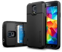1 Piece SGP Slim Armor CS Case For Samsung Galaxy S5 i9600 SPIGEN SGP Phone Cover Pouch With Card Slot, Sliding Wallet Drawer