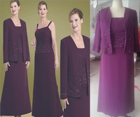 2014 new free jackt new purple grandmother of the bride pant suits