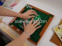Free shipping Mini Mahjong Mahjong solid carved pocket trumpet version mahjong table travel with portable