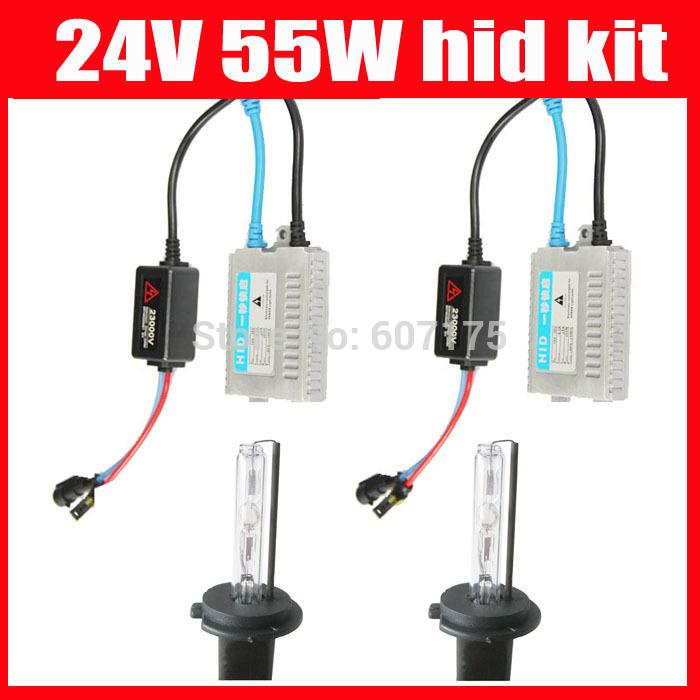 factory wholesales hid xenon kit 24v 55w fast start hid xenon electronic ballast h1 h3 h7 h11 9005 9006 xenon kit 10sets/lots(China (Mainland))