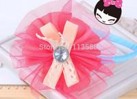 10pcs/lot HA0279 Button bowknot riibon lace big flower headband for Kids Children