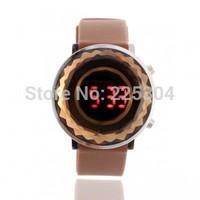 Free Shipping 5pcs Brown Silicone Band LED Light Date Digital Wristwatch Wrist Watch