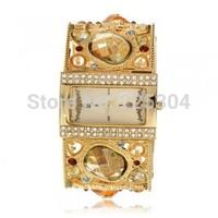 Free Shipping 5pcs Rhinestone Gold Plated Band Rectangle Dial Quartz Bracelet Wristwatch Watch Lady Model