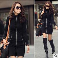 HOT 2014 New Winter Women's Slim Black Long Sleeve Zip Cardigan Dress Turtleneck Split Cardigan Fleece Basic Dress S-3XL