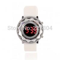 Free Shipping 5pcs White Silicone Band LED Light Date Digital Wristwatch Wrist Watch