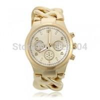 Free Shipping 5pcs Golden Alloy Band Quartz Movement Analog Bracelet Link Watch Wristwatch Woman