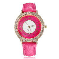2014 High quality dropship rose glod roman number women watches leather strap watch fashion casual ladies wristwatch