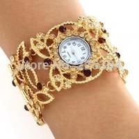 Free Shipping 5pcs Rhinestone Golden Alloy Band Round Dial Quartz Bracelet Watch Wristwatch Women