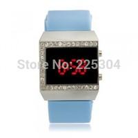 Free Shipping 5pcs Women Red LED Digital Wrist Watch Wristwatch Bracelet Blue Silicone Band Strap