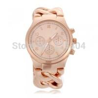 Free Shipping 5pcs Rose Golden Alloy Band Quartz Analog Bracelet Link Watch Wristwatch Woman