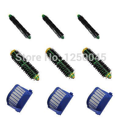 Flexível e cerdas da escova kit de filtro Aero Vac para iRobot Roomba 500 Series 510 530 550 Frete grátis(China (Mainland))