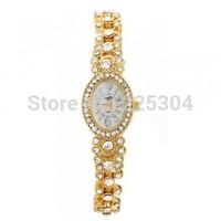 Free Shipping 5pcs Gold Plated Alloy Band Arabic Numerals Quartz Bracelet Link Watch Wristwatch