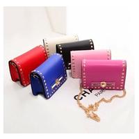 New arrival high quality leather women messenger bag rivet women shoulder bag brand  chain small bag