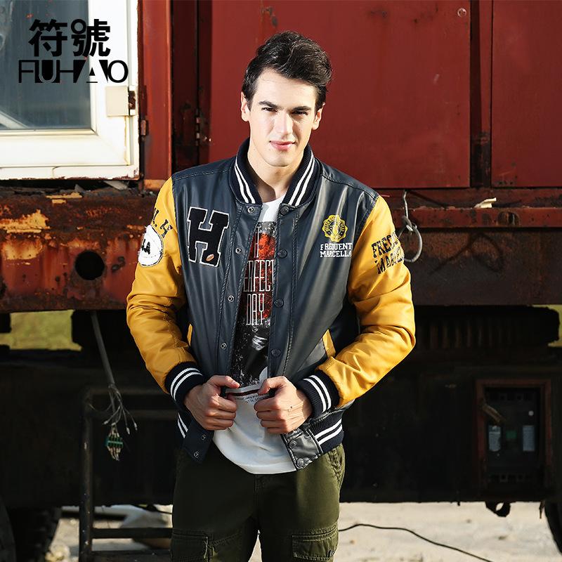 Wholesale Free shopping man jacket winter jacket men 2014 new American baseball leather jacket menmen coat(China (Mainland))