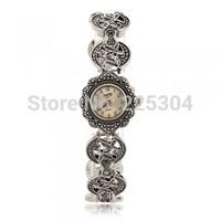 Free Shipping 5pcs Rhinestone Black Alloy Band Round Dial Quartz Bracelet Watch Wristwatch Vintage