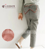 Free shipping Retail 2014 autumn new Kids Girls Sweet waist bowknot plaid pants and a generation of fat