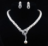Wedding Bridal Rhinestone Bowknot Faux Pearl Crystal Top Necklace Earring Sets